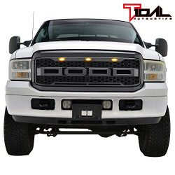 Tidal Raptor Style Upper Replacement Grille w/ LED Amber Lighting for 05-07 Ford F250 F350 Super ...