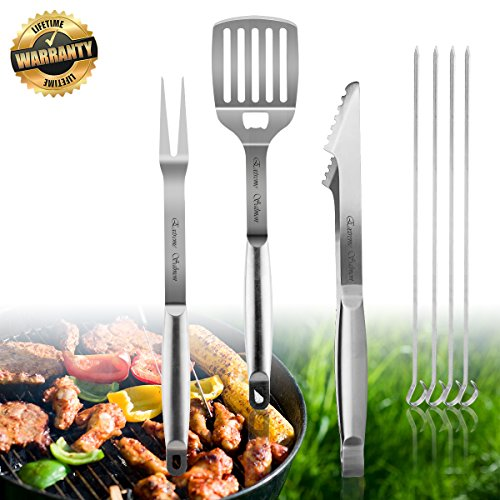 Grill Accessories, BBQ Tool Sets 7 PCS Grill Set Stainless Steel Grilling Utensils Heavy Duty Gr ...