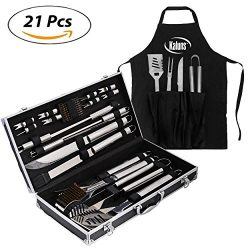 Kaluns™ BBQ Grill 21 Piece Utensil Set, Heavy Duty Stainless Steel Tools, luxurious and essentia ...