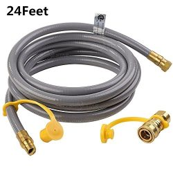 SHINESTAR 24 feet Natural Gas Quick Connect / Disconnect Hose Assembly for BBQ Grill- 50,000 BTU ...