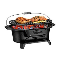 Bruntmor Pre-Seasoned Hibachi-Style Portable Cast Iron Charcoal BBQ Grill