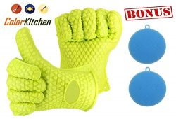 ColorKitchen Oven Gloves Silicone Heat Resistant Oven Mitts BBQ Barbecue Gloves for BBQ Cooking  ...