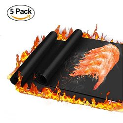 Haolide Heavy-Duty Non-Stick BBQ Grill Mat,Set of 5-Heat Resistant,Durable,Reusable,Easy-to-Clea ...