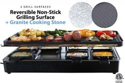 Milliard Raclette Grill for Eight People, Includes Granite Cooking Stone, Reversible Non-Stick G ...