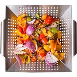 Nonstick Stainless Steel Vegetable Grill Basket & Wok Topper with Carry Handles & Bonus  ...