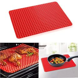Oven Baking Mat Cooking Pyramid Barbecue Grill MatsHigh Temperature Resistance Pad (Red)