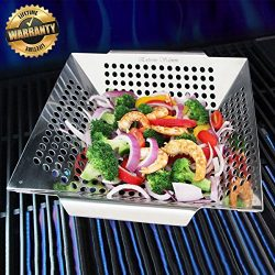 Grill Basket, Vegetable Grill Basket Stainless Steel Veggies Grill Basket with Handle BBQ Grilli ...