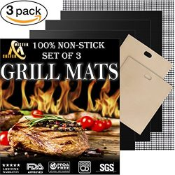 Grill Mat Set of 3 – Professional Non-Stick Grill Mats for BBQ Grilling and Baking – ...