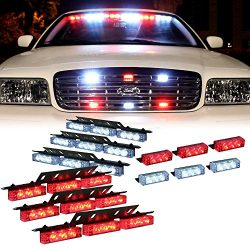 DT MOTO™ Red White 54x LED Emergency Service Vehicle Dash Deck Grill Warning Light – 1 set