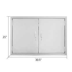 VEVOR Double Stainless Door 30.5″W by 21″H Barbecue Island Door Flush Mount Access D ...