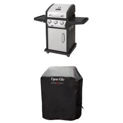 Dyna-Glo DGB390SNP-D Smart Space Living 36,000 BTU 3-Burner LP Gas Grill and Premium Grill Cover ...