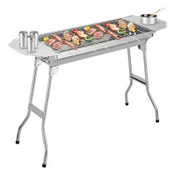 PengMei Compact Folding 30″ Stainless Steel Charcoal Grill – Portable BBQ Grill, Yak ...