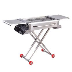 Sougem Portable Charcoal Grill for Outdoor Cooking,Camping and Tailgating, Thickened Stainless s ...
