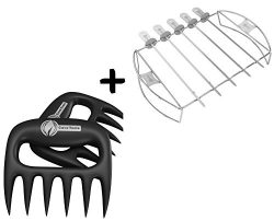 Meat Claws + Barbecue Skewer Shish Kabob Set – BBQ Kebab Rack Maker – Portable Stain ...