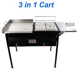 Taco Cart with Griddle 18×16 Stainless Steel, Double Deep Fryer, 2 Deep Trays & Stove A ...