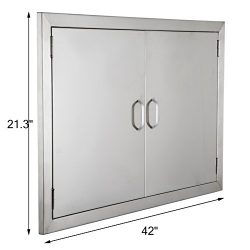 BestEquip Double BBQ Island 304 Stainless Door Double Access BBQ Door 42x21inch Double Door Flus ...