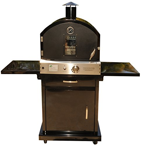 Pacific Living Outdoor Large Capacity Gas Oven with Pizza Stone, Smoker Box and Mobile Cart, Bla ...