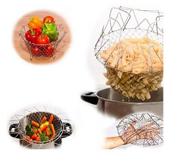 1Pc Foldable Steam Rinse Strain Fry Basket Magic Basket Mesh Basket Strainer Net Kitchen Cooking ...