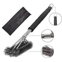 Grill Cleaning Brush,Stainless Steel 18″ BBQ Grill Cleaning Brush with Wire Bristles and S ...