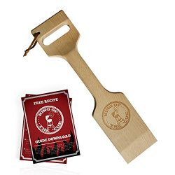 17″ Solid Wood Grill Scraper Cleaner for Gas or Charcoal Grills – 100% Natural, Perf ...