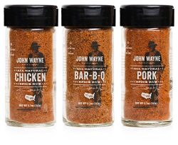Fire & Flavor John Wayne Collection Spice Rub Variety Pack with Chicken, Bar-B-Q, and Pork,  ...