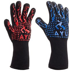 AYL BBQ Gloves Heat Resistant Up to 932⁰F: Insulated Kitchen Cooking Baking & Grilling Glove ...