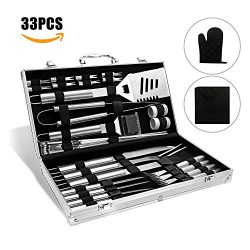 Doatry BBQ Grill Tools Set with 33 Barbecue Accessories – Stainless Steel Utensils with Al ...