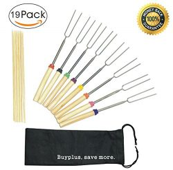 Marshmallow Roasting Sticks, Extendable Hot Dogs Shish Kabob Telescoping Barbecue Stainless Stee ...