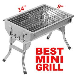 Portable Simple CHARCOAL GRILL Foldable Stainless Steel BBQ Grill [SMALL, LARGE] (SMALL [cock ar ...