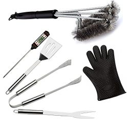 OLIVIA & AIDEN 6 Piece Stainless Steel BBQ Accessory Set – BBQ Spatula, BBQ Tongs, BBQ ...