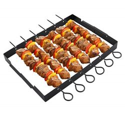 "POLIGO Heavy Duty Barbecue Skewer Shish Kabob Set, 14"" Stainless Steel Shish Kabob Skewers and F ..."