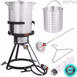 SKEMIDEX—6pc Gas stove Turkey deep Fryer Kit Aluminum Pot Outdoor Propane Backyard 30Qt An ...