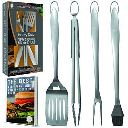 Heavy Duty BBQ Grill Tools Set | Stainless Steel Spatula, Fork, Tongs, & Basting Brush | Bar ...