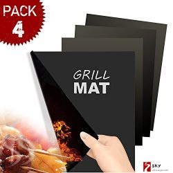 SKYBD Grill Mat (Set of 4) Non-Stick, Reusable, BBQ Grill Mat&Baking Mat for Gas, Charcoal,  ...