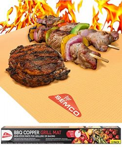 Copper GRILL MAT Set of 3 – PREMIUM NON STICK BBQ Gold Grill & Baking Chef Mats – ...