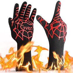 Gven BBQ Gloves, Extreme Heat Resistant Cooking Kitchen Mitts Non-Slip Grilling Gloves BBQ Firep ...
