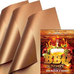 SKYBD Copper Grill Mat (Set of 3) Non-Stick BBQ Grill Mat&Baking Mat for Gas, Charcoal, Elec ...