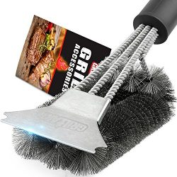 Grill Brush and Scraper – Extra Strong BBQ Cleaner Accessories – Safe Wire Bristles  ...