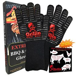 Fireplace & BBQ Grilling Gloves by Grill & Chill – 932°F Extreme Heat Resistant Ov ...