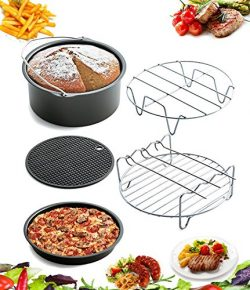5 Piece Air Fryer Accessories by AIQI, Including Cake Barrel, Pizza Pan, Metal Holder, Skewer Ra ...