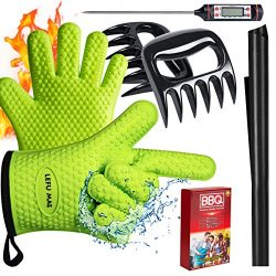 Lefu Mae BBQ Oven Gloves, Meat Thermometer, Meat Shredder Claw and BBQ Grill Mat (4 in 1) BBQ Gr ...