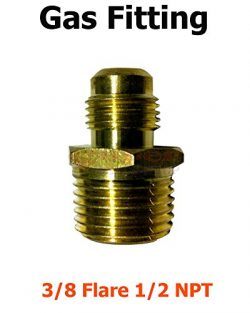 1 Pcs 3/8 Male Flare X 1/2 NPT Brass Propane Natural LP Gas Fitting Adapter Connector Connect Di ...