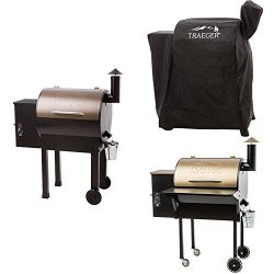 Traeger TFB42LZBC Grills Lil Tex Elite 22 Wood Pellet Grill and Smoker (Bronze), with Full Lengt ...