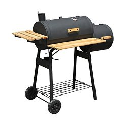 Outsunny Steel 47″ Steel Portable Backyard Charcoal BBQ Grill and Offset Smoker Combo with ...