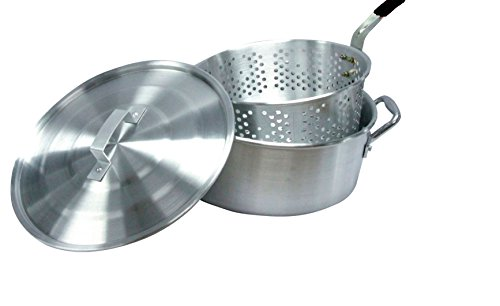 Smart Cook 10 Quart Aluminum Fry Pot with Basket and Lid