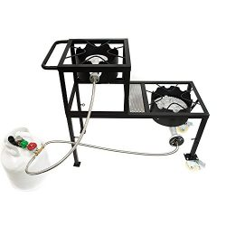 GAS ONE Propane Burner Two Step/Tier 300,000-BTU High-Pressure Propane Double burner on Wheels & ...