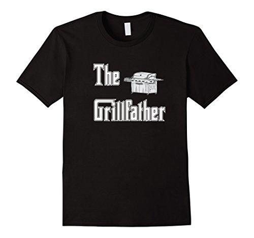 Mens The Grillfather with Propane Grill BBQ T-shirt 2XL Black