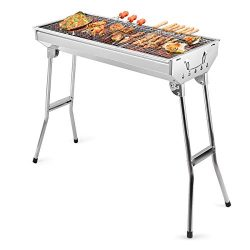 Barbecue Charcoal Grill Stainless Steel Folding Portable BBQ Tool Kits for Outdoor Cooking Campi ...