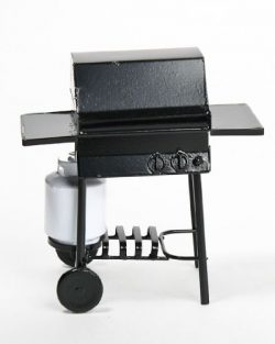 Miniature Black BBQ Grill with Side Tray and Propane Tank for Dollhouses and Crafting