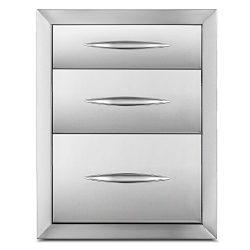 Happybuy Outdoor kitchen drawer 18″x15″ Stainless steel BBQ Island Drawer storage wi ...